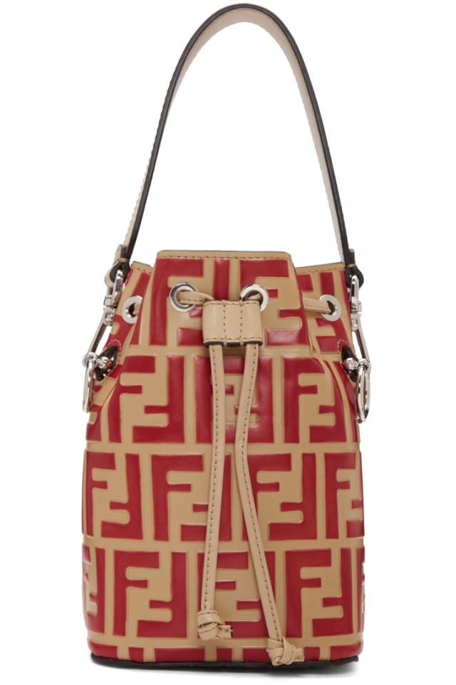 08428cb7406b Fendi Red   Beige Forever Fendi Mini Mon Tresor Bag from SSENSE ...