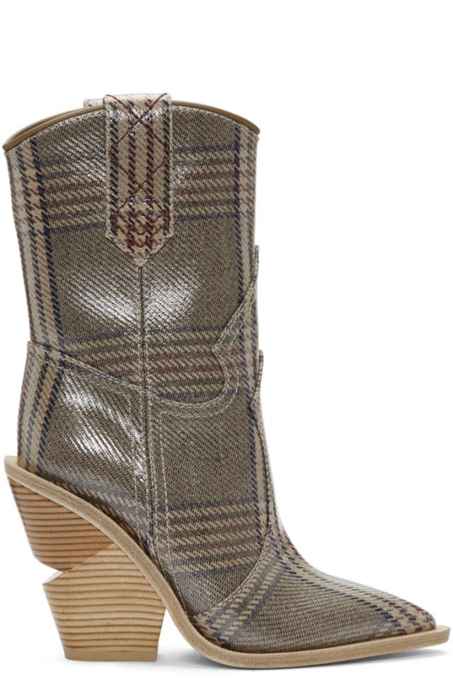 44a292892f903 Fendi Tan Plaid Fendi Forever Cowboy Boots from SSENSE - Styhunt