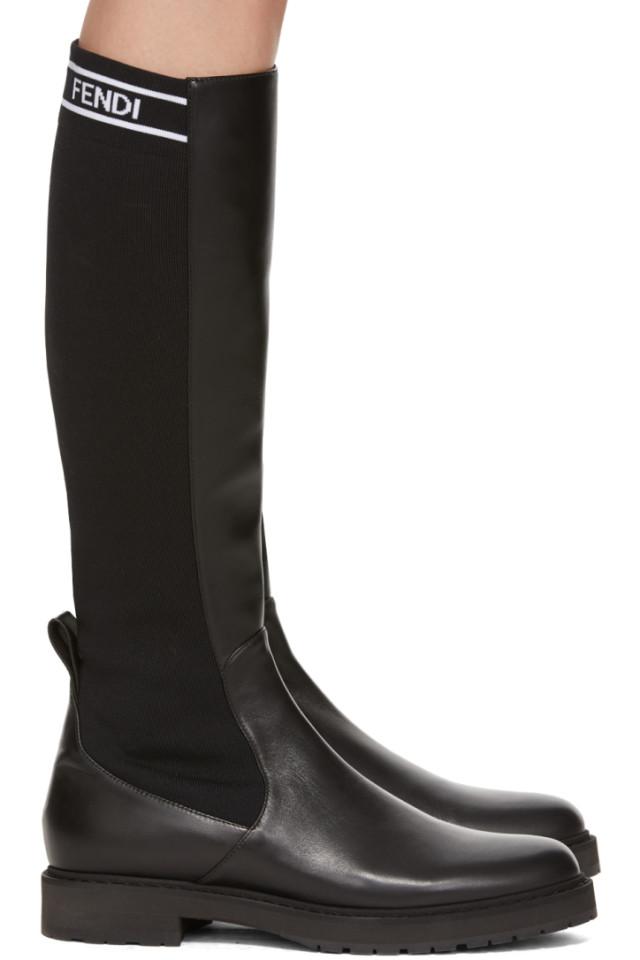 56e8cc8a20ff2 Fendi Black Tall Sock Boots from SSENSE - Styhunt