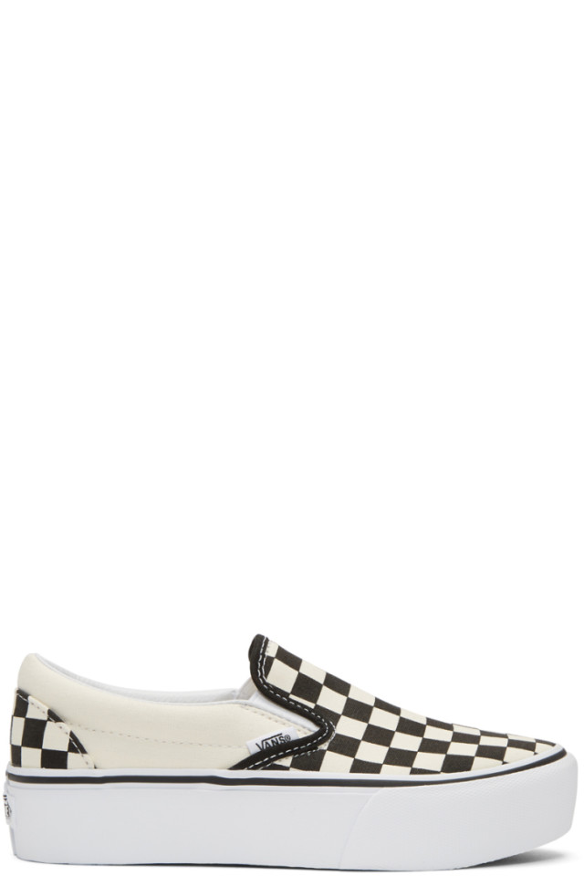 bf0cd935f9 Vans Off-White   Black Checkerboard Classic Slip-On Platform Sneakers