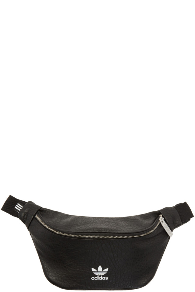 09513d11c45a adidas Originals Black Faux-Leather Logo Fanny Pack from SSENSE ...