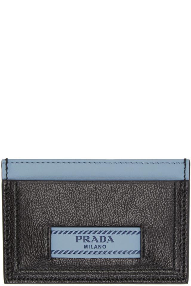 7ec03f67fecc Prada Black & Blue Prada Etiquette Card Holder from SSENSE - Styhunt