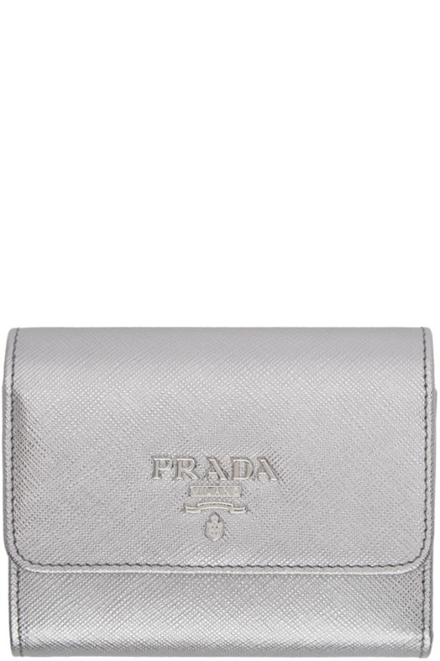 f391f0466c27 Prada Red Saffiano Trifold Wallet from SSENSE - Styhunt
