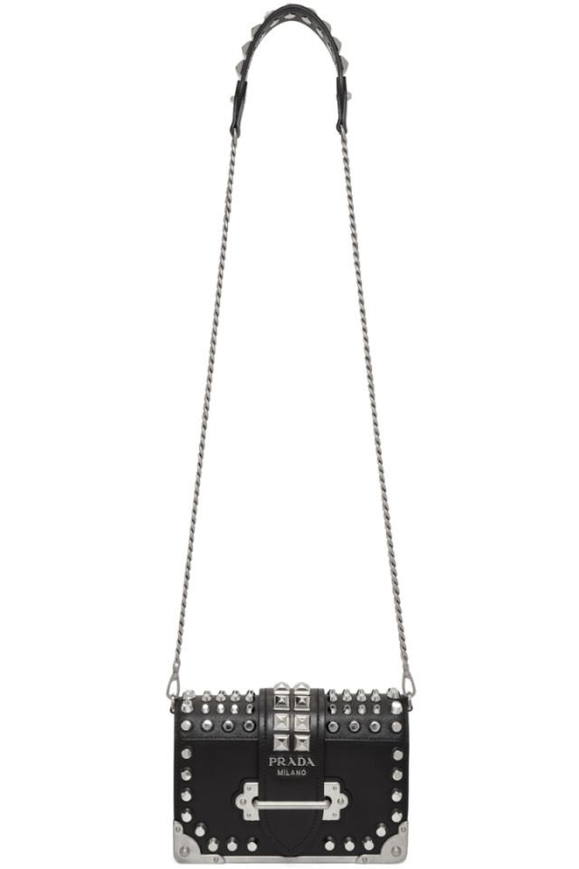 0f7b0c4599f272 Prada Cahier Studded Leather Shoulder Bag from mytheresa - Styhunt