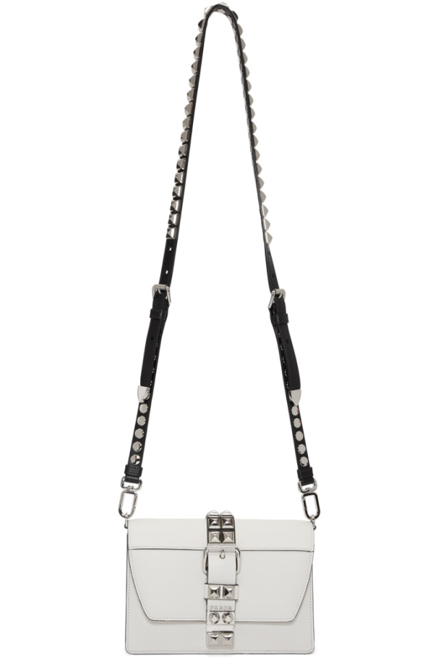 ad5f89cad7347b Prada White Small Electra Studded Bag from SSENSE - Styhunt