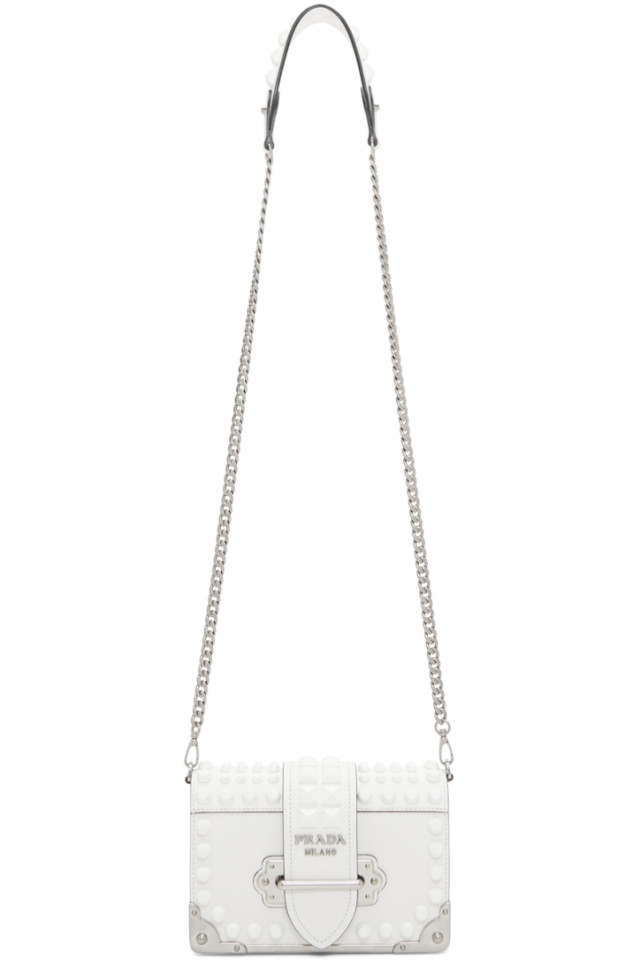 9eff0e2f8c82 Prada White Mini Cahier Bag from SSENSE - Styhunt