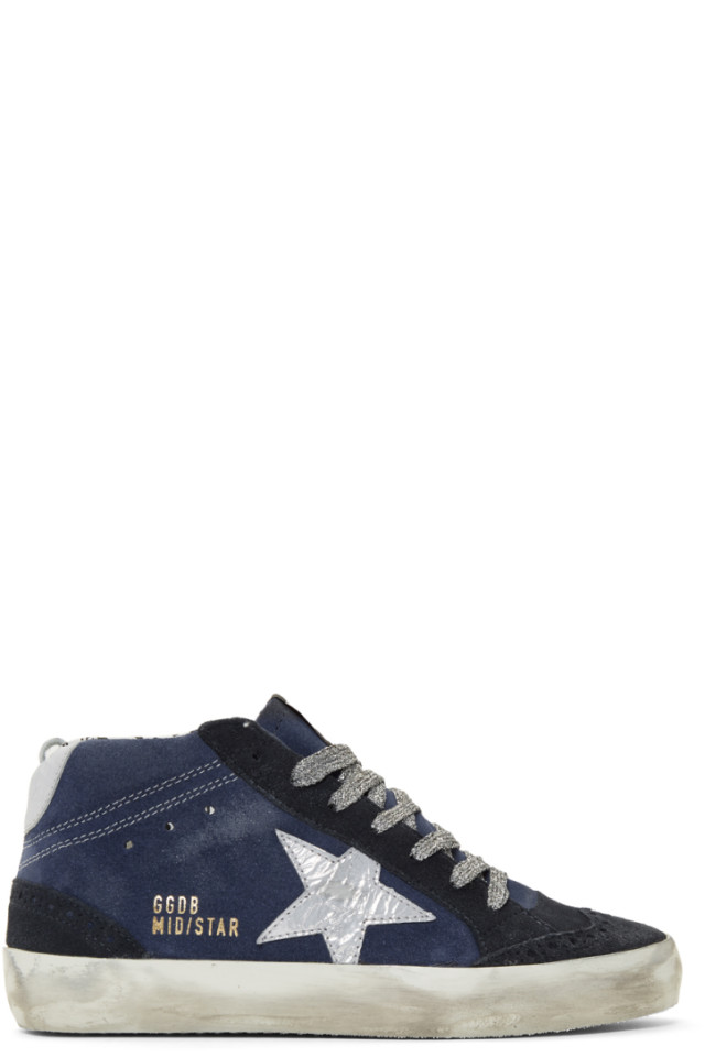 25365bc82bc1 Golden Goose SSENSE Exclusive Indigo Suede Mid Star Sneakers from ...