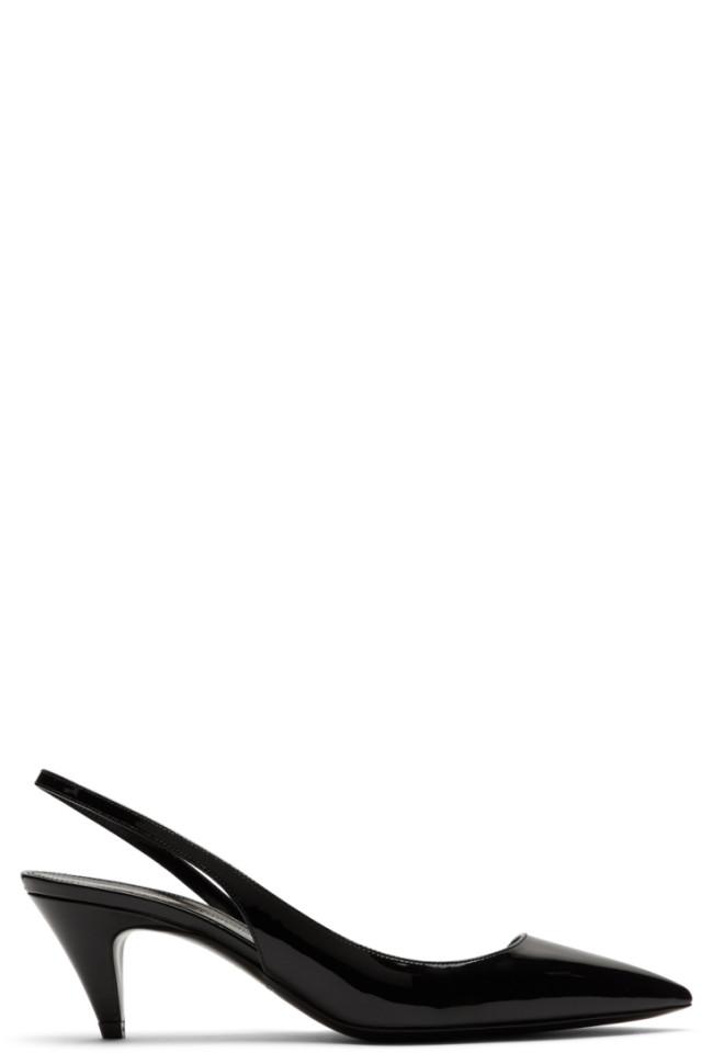 1ff4d2f5dce Saint Laurent Black Patent Cassandra Open Sandals from SSENSE - Styhunt