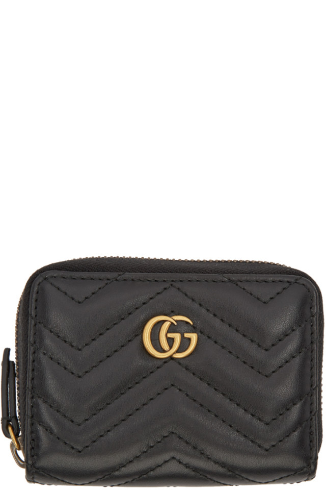 96694d355de Gucci Black GG Marmont Zip Around Wallet from SSENSE - Styhunt