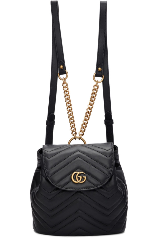 a2ae755e Gucci Black Mini GG Marmont 2.0 Backpack from SSENSE - Styhunt