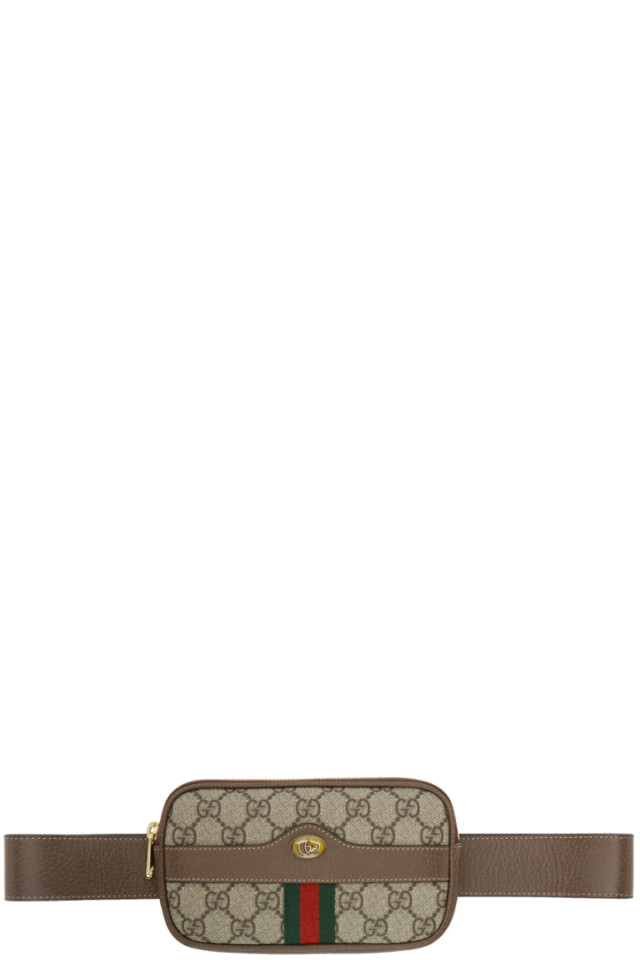 ecb46bd8002 Gucci Brown GG Supreme Ophidia iPhone Case Belt Bag from SSENSE ...