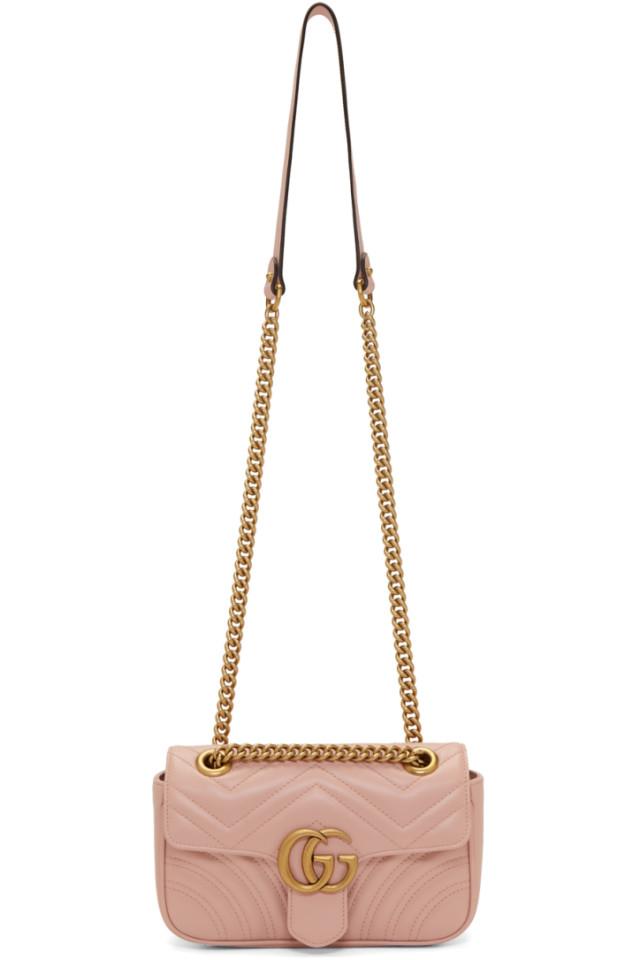 a5e9fbef3aa8 Gucci Pink Mini GG Marmont 2.0 Bag from SSENSE - Styhunt