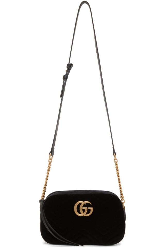 e43014ccfd79b8 Gucci Black Velvet GG Marmont 2.0 Camera Bag from SSENSE - Styhunt