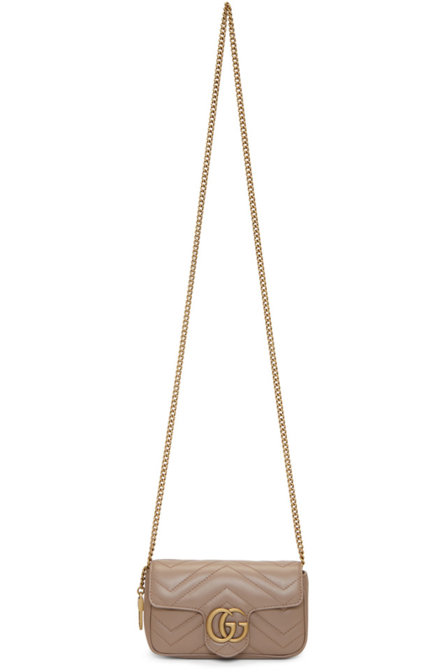 62277f79f Gucci Pink Super Mini GG Marmont Chain Bag from SSENSE - Styhunt