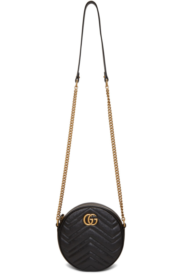 b66d9daf Gucci Black Mini GG Marmont 2.0 Round Bag from SSENSE - Styhunt
