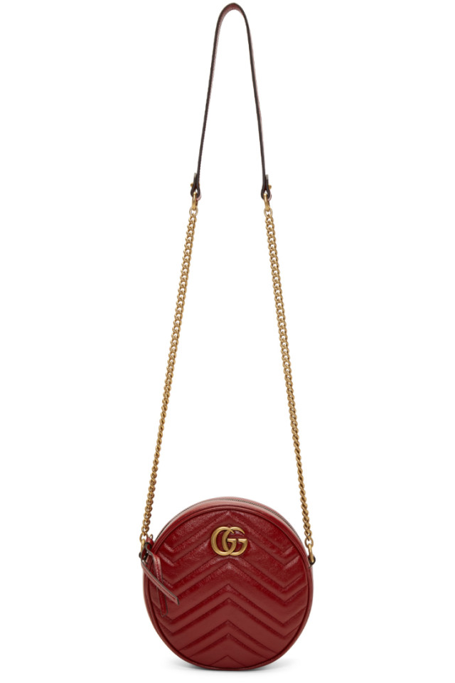 e4ab58f0c978a7 Gucci Red Mini GG Marmont 2.0 Round Bag from SSENSE - Styhunt