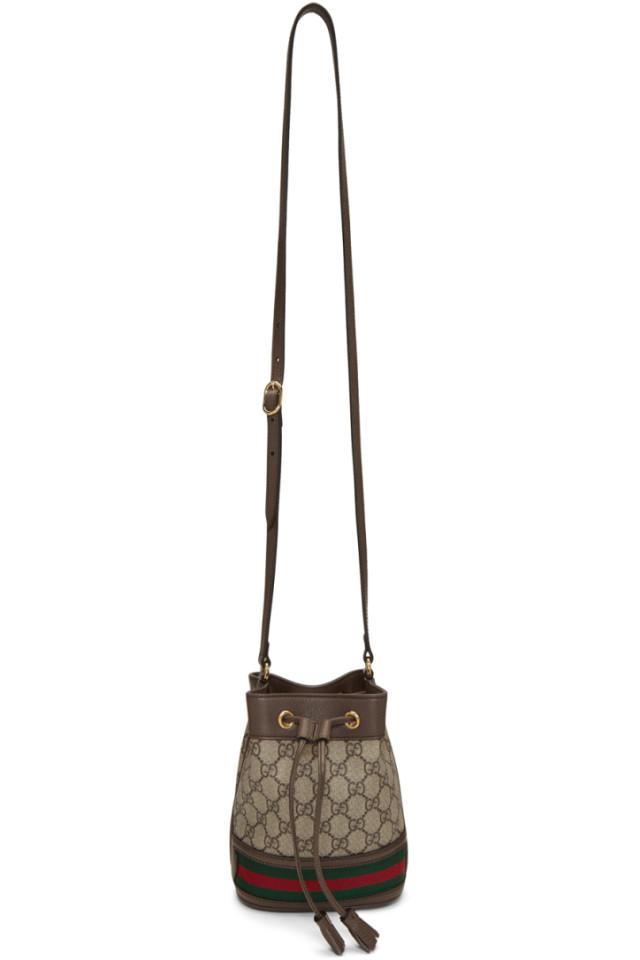 989a847b9 Gucci Beige GG Supreme Mini Ophidia Bucket Bag from SSENSE - Styhunt