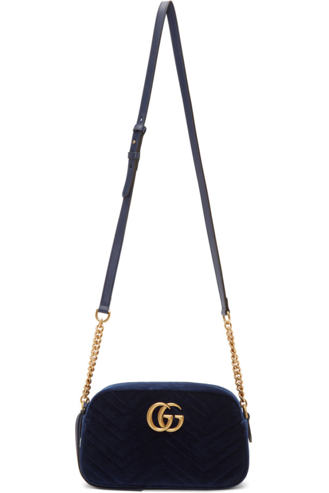 474cbd83b Gucci Blue Velvet Small GG Marmont 2.0 Shoulder Bag from SSENSE ...