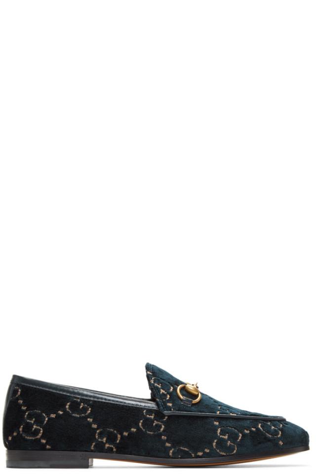 17f5b6532 Gucci Blue Velvet GG New Jordaan Loafers from SSENSE - Styhunt