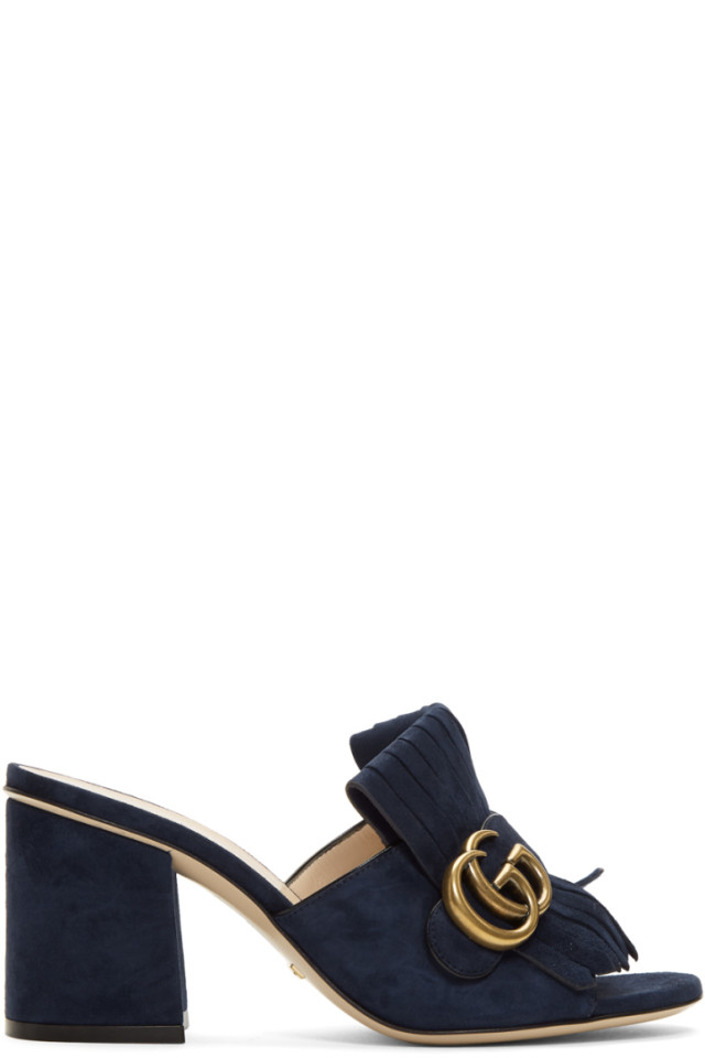 e76b4df891d Gucci Navy Suede GG Marmont Slide Heeled Sandals from SSENSE - Styhunt