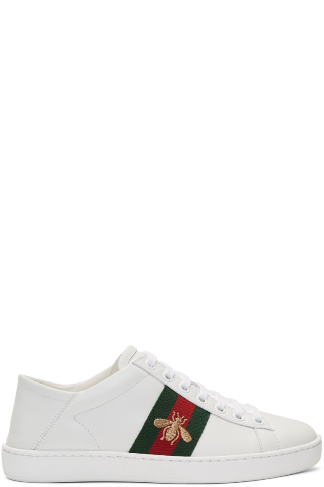 be6dc310d9c Gucci White Bee New Ace Sneakers from SSENSE - Styhunt