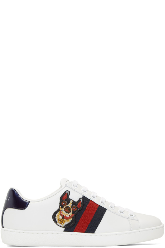 0a5556dc3b1 Gucci White Dog New Ace Sneakers from SSENSE - Styhunt