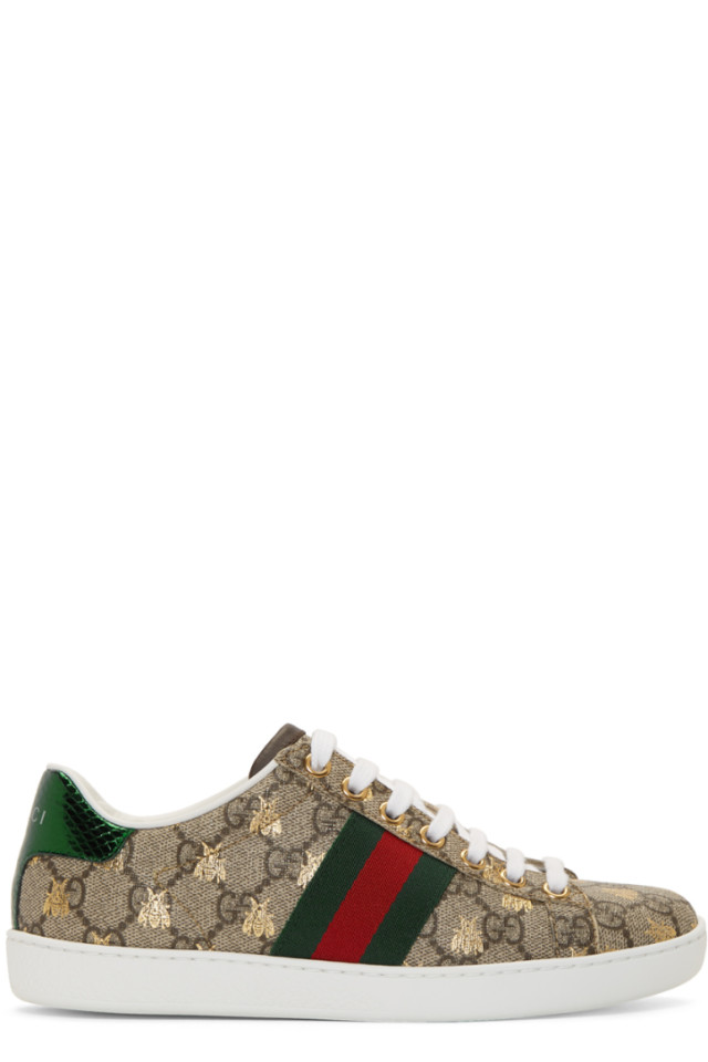 393e0a5deec Gucci Beige GG Supreme Ace Bee Sneakers from SSENSE - Styhunt
