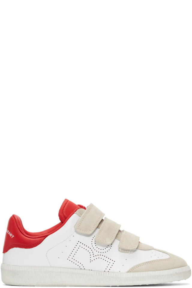 2bb9e47f7c4 Isabel Marant Red & White Beth Sneakers from SSENSE - Styhunt