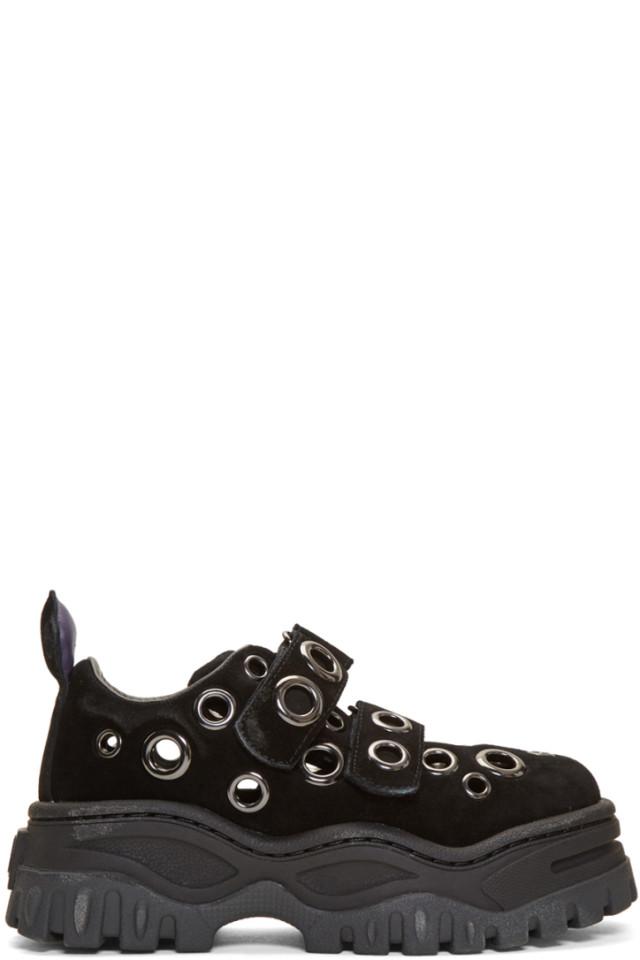 Black Suede Grommet Angel Sneakers