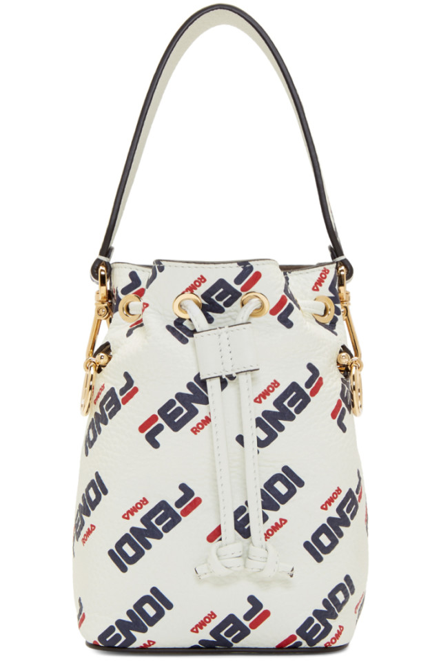 433cd9202417 Fendi White Fendi Mania Mini Mon Tresor Bucket Bag from SSENSE - Styhunt