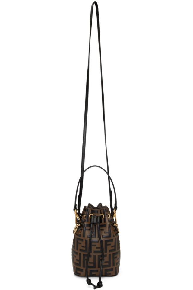 2d1e4db7999b Fendi Brown   Black Mini Forever Fendi Mon Tresor Bucket Bag from ...