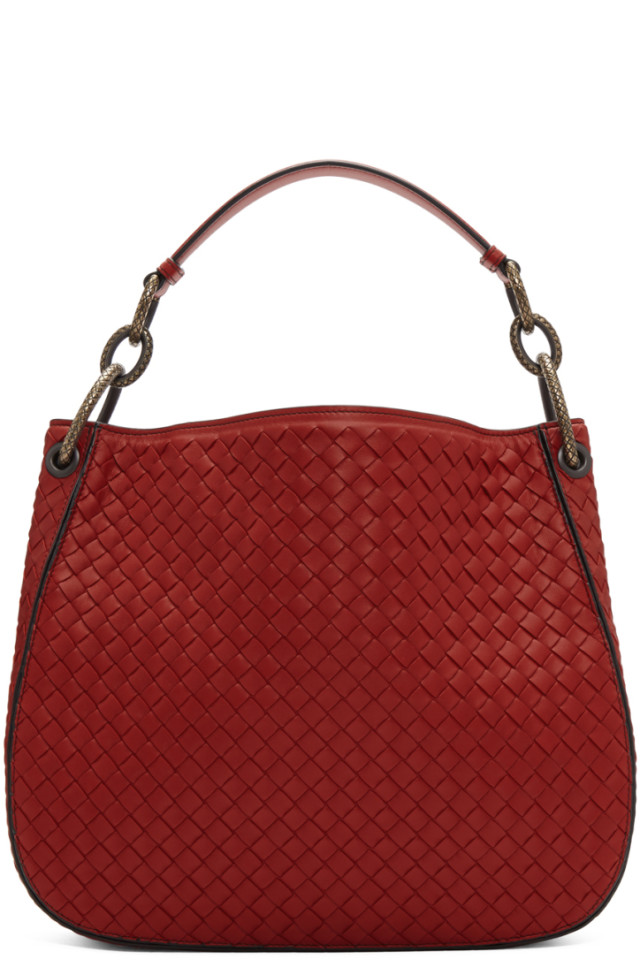 Bottega Veneta Red Medium Intrecciato Loop Bag from SSENSE - Styhunt 3374efaeb22e2