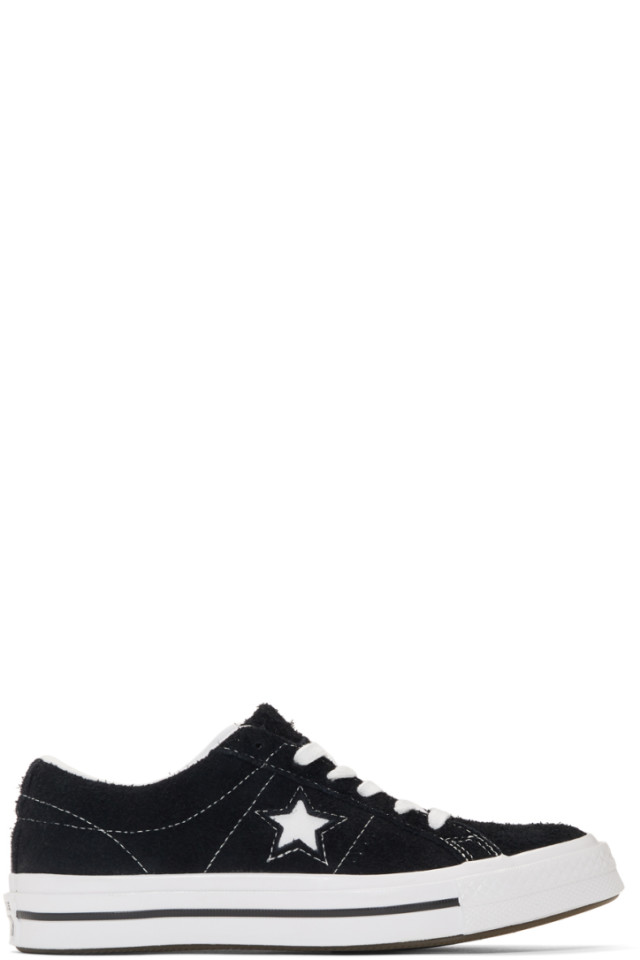 319850cf0dbb Converse Black   White Vintage Suede One Star Sneakers from SSENSE ...