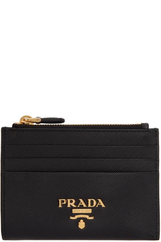 c81c865a0340 Prada Black Saffiano Card Holder from SSENSE - Styhunt