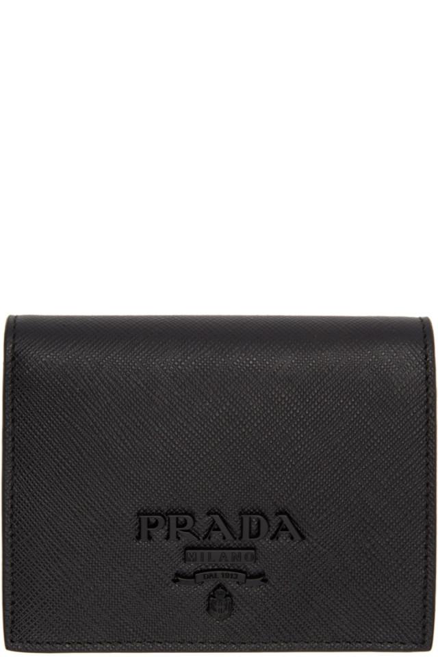 805d8ae9de29 Prada Black Saffiano Logo Wallet from SSENSE - Styhunt