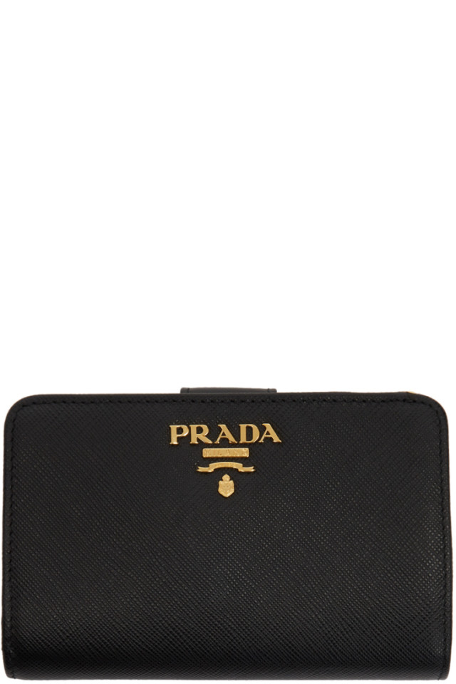 c598f9ec97ea Prada Black Saffiano Leather Medium Wallet from SSENSE - Styhunt