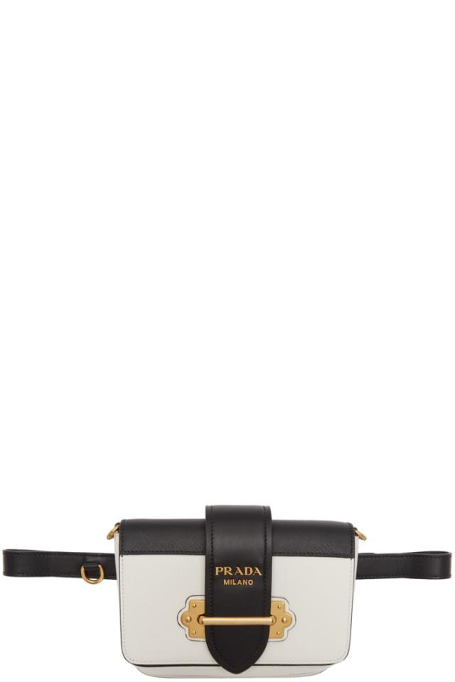 7b9f86eb6541 Prada White Cahier Belt Bag from SSENSE - Styhunt