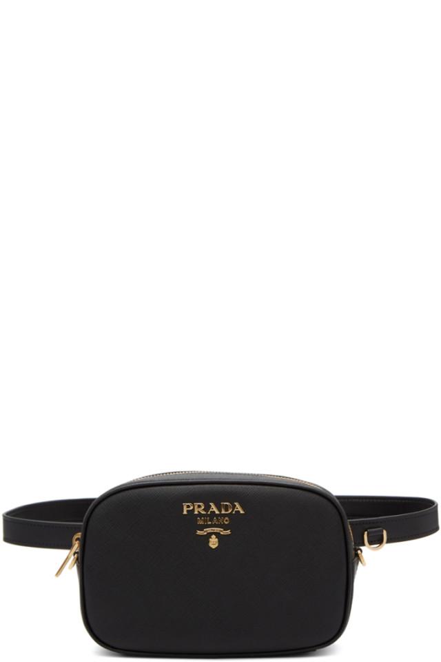 6856c9414de8c7 Prada Black Saffiano Leather Belt Bag from SSENSE - Styhunt