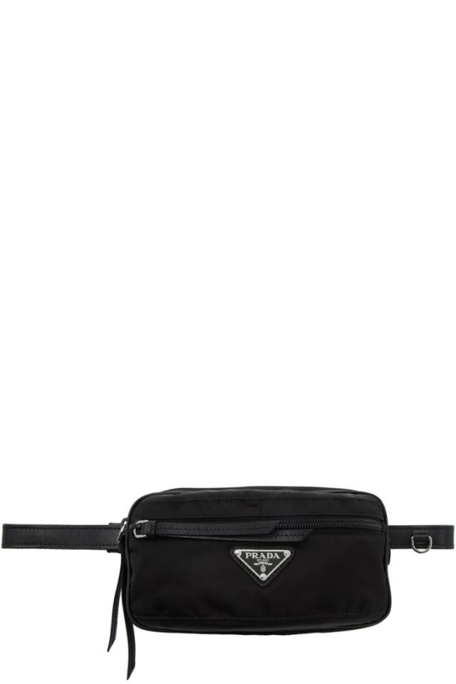 8c9cae9a95752 Prada Black Nylon Triangle Logo Belt Bag from SSENSE - Styhunt