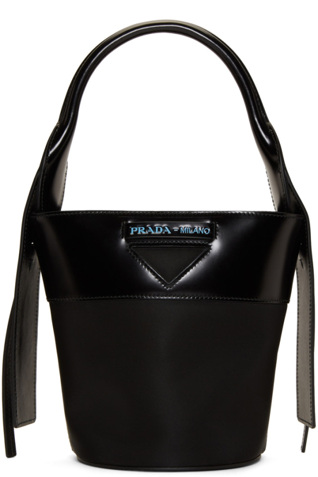 6aad962c5339 Prada Black Small Ouverture Bucket Bag from SSENSE - Styhunt