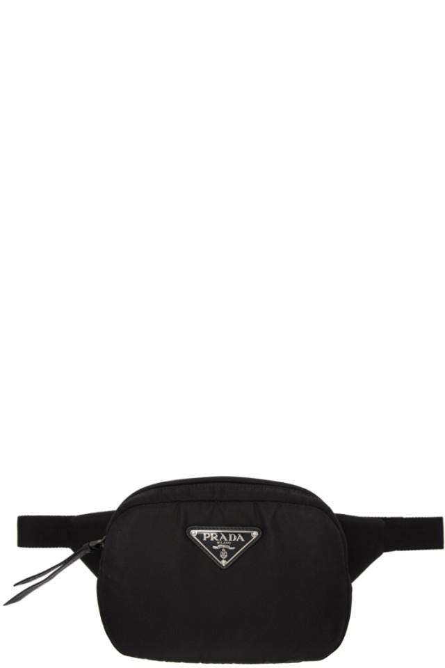 9378b2b2e5743d Prada Black Studded Belt Bag from SSENSE - Styhunt