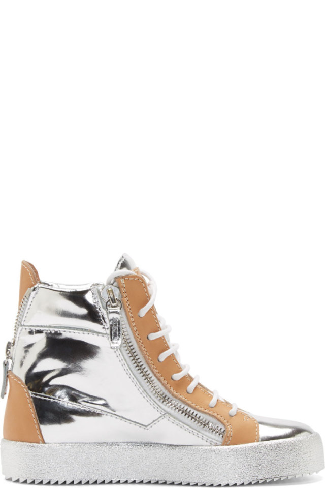 0154d15be3 Giuseppe Zanotti Silver   Beige Leather May London Wedge Sneakers