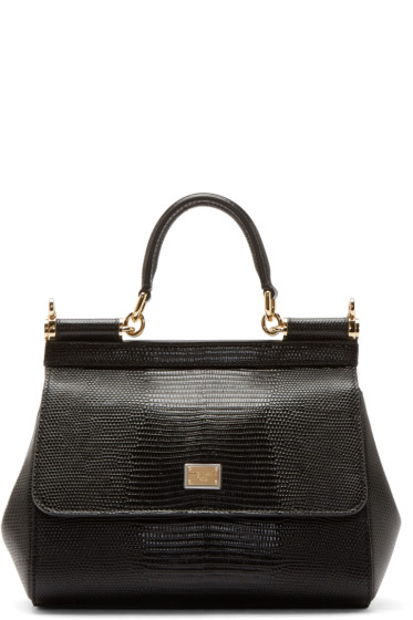 aaeb31523c7a Dolce   Gabbana Black Iguana-Embossed Small Miss Sicily Bag from ...