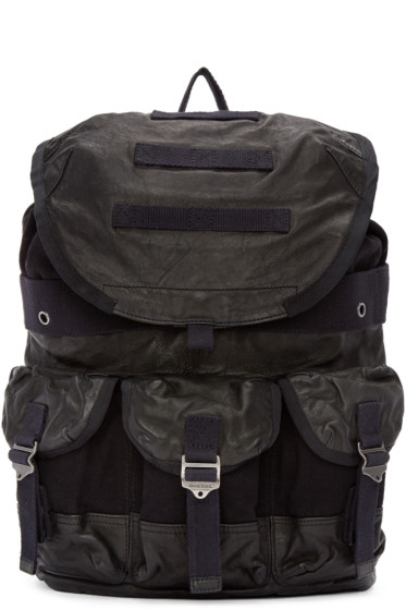 Diesel - Black Leather & Canvas L-BREAKING Backpack