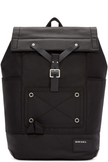 Diesel - Black Nylon Whybe Backpack