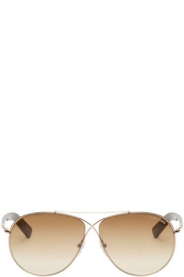 Tom Ford - Gold & Mahogany Aviator Sunglasses