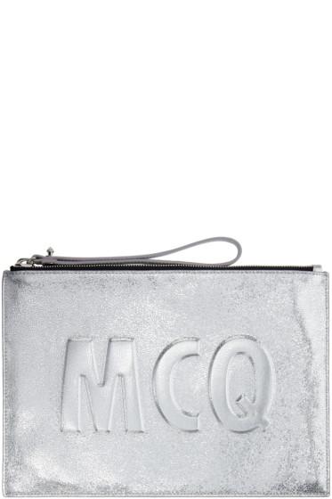McQ Alexander Mcqueen - Silver Leather Logo Pouch