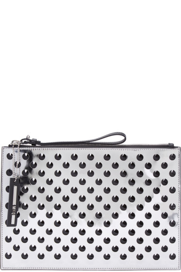 McQ Alexander Mcqueen - Silver Perforated Leather Pouch