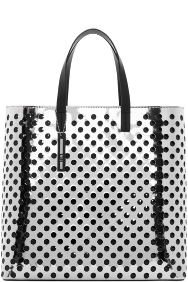 McQ Alexander Mcqueen - Silver Perforated Void Tote