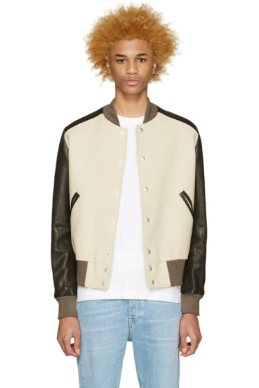 Maison Martin Margiela - Beige & Black Multi-Fabric Bomber Jacket